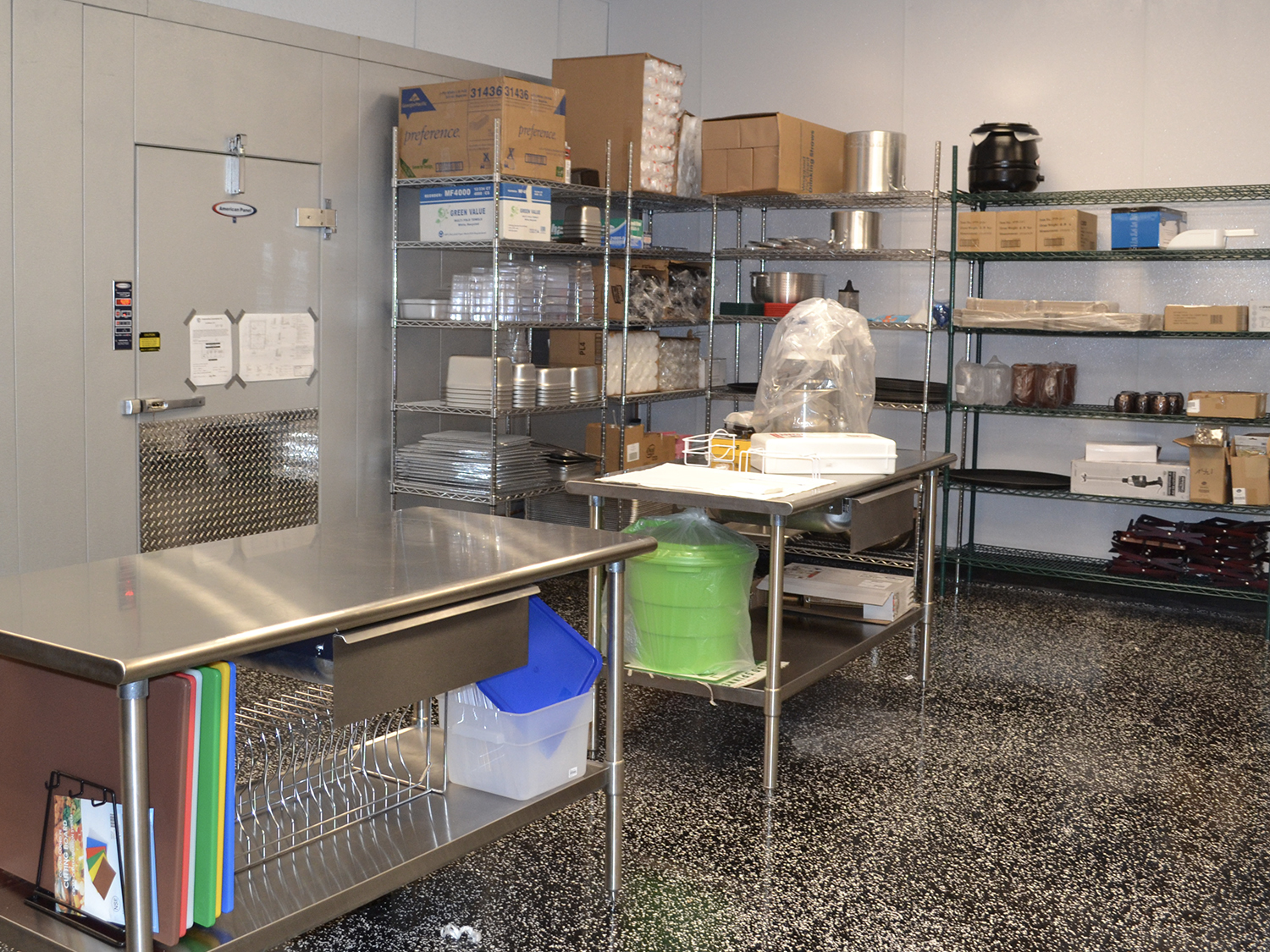 walkin refrigeration shelving stainless steel work table